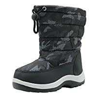 Apakowa New Kids Boys Cold Weather Snow Boots (Toddler/Little Kid) (Color : Grey/Black, Size : 10 M US Toddler)