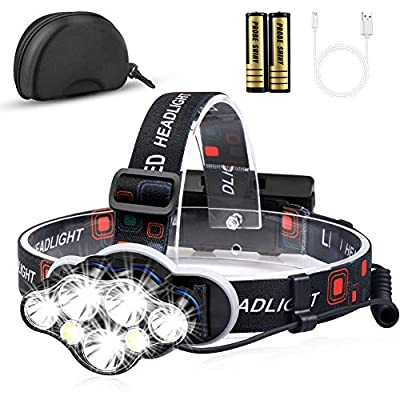 Headlamp, KeShi 12000 Lumen Brightest 7 LED Headlight Flashlight with White Red Lights, USB Rechargeable Waterproof Head Lamp, 8 Modes for Outdoor Camping Cycling Running Fishing