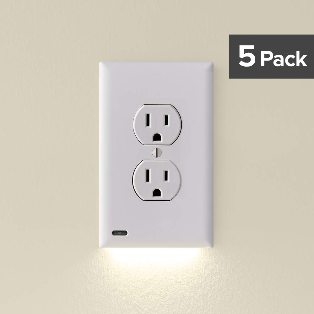 SnapPower Guidelight - Outlet Wall Plate With LED Night Lights - No Batteries Or Wires - Installs In Seconds - (Duplex, White) (5 Pack) (SRWH-101-XD) by SnapPower