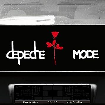 Greenit Set Exciter Schriftzug Und Rose Aufkleber Tattoo Die Cut Car Decal Auto Heck Deko Folie Depeche Mode Weiß Rot Auto