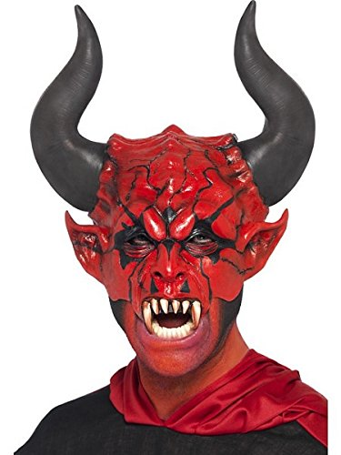 Smiffy's Unisex Devil Lord Mask, Red, Half Face, One Size, 38860 (Devil Face Halloween)