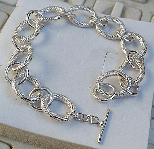 d2e72dc3dd482 Amazon.com: Silver Link Beacelet,Sterling Silver Bracelet ,Handmade ...