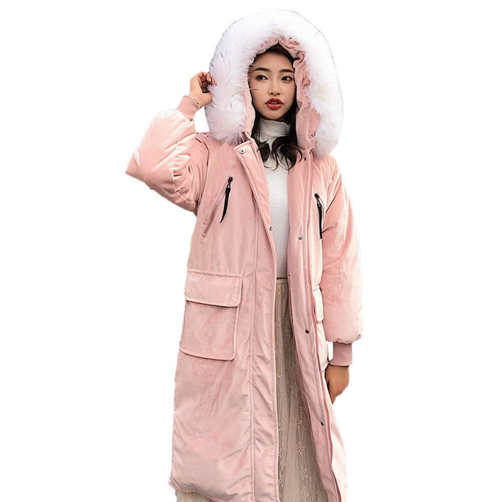 Pervobs Women Outerwear Long Sleeve Solid Fur Hooded Pocket Coat Long Jackets Overcoat (US:10, Pink)