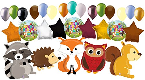 29pc Woodland Creatures Happy Birthday Animals Balloon Bouquet Party Decoration by Jeckaroonie Balloons
