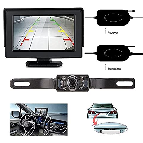 ZSMJ Wireless 9V-24V Rear View Backup Camera and Mirror Monitor Kit For Car/Vehicle/Truck / Van / Caravan / Trailers / Camper with 7 LED Night - Rear View Backup Camera System