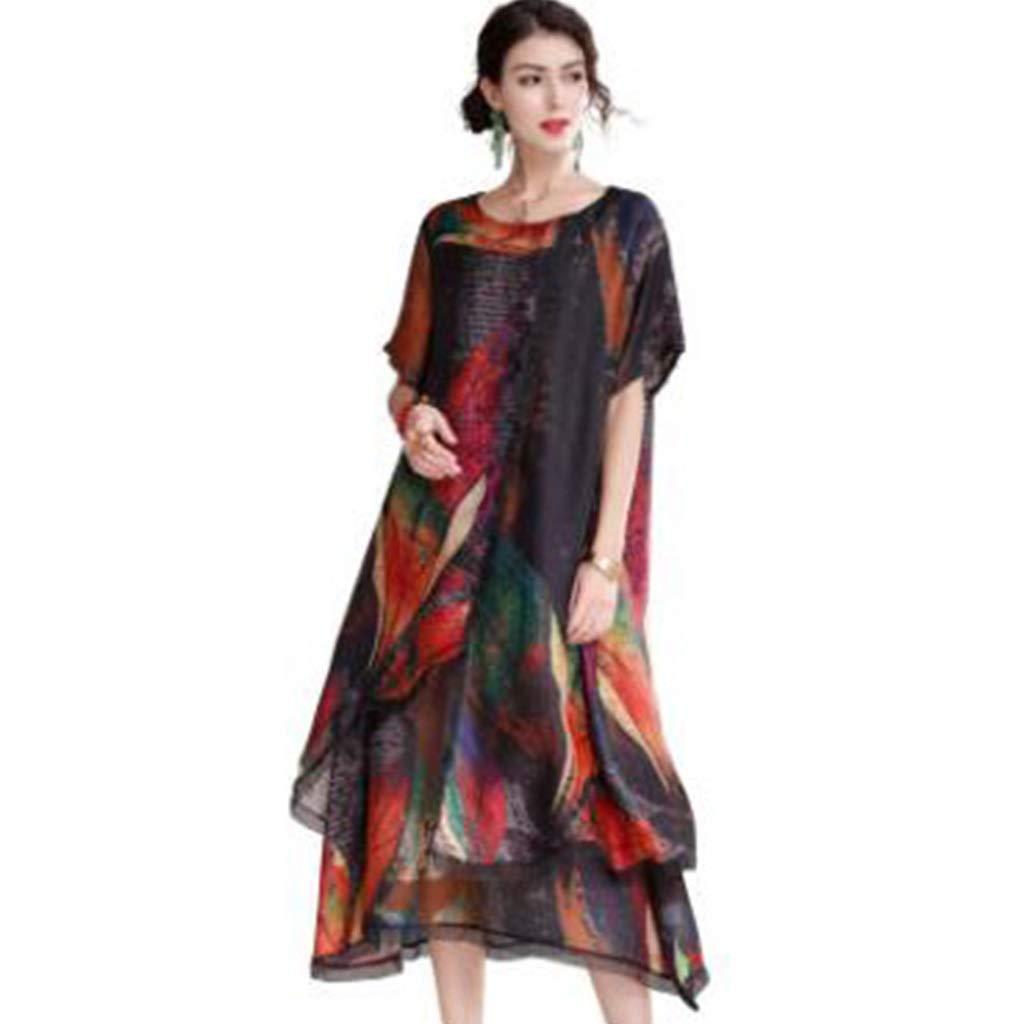 夏緩い大きいサイズツーピースドレス女性プリントシフォンロングスカート (サイズ さいず : M m) B07R164KCX L l  L l