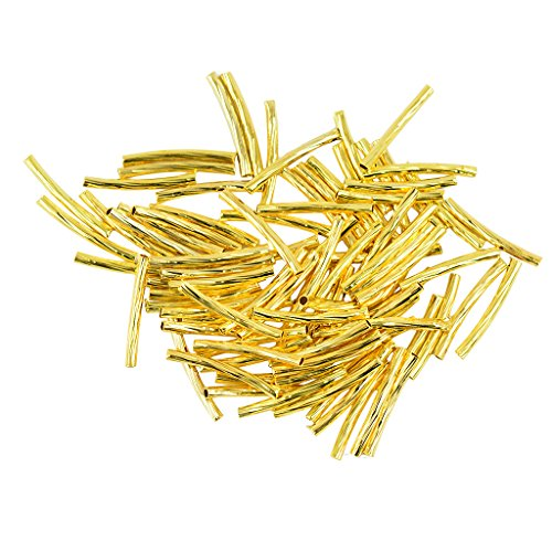 Jili Online 50pcs Gold Curved Noodle Tube Loose Spacer Bead Jewelry Finding 20 x 1.8mm