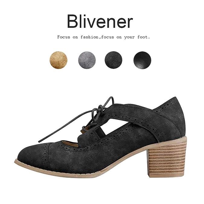 Amazon.com: Blivener - Sandalias de tacón grueso para mujer ...