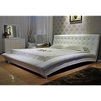 GREATIME B1053-4 Eastern King White Modern Leatherette Platform Bed
