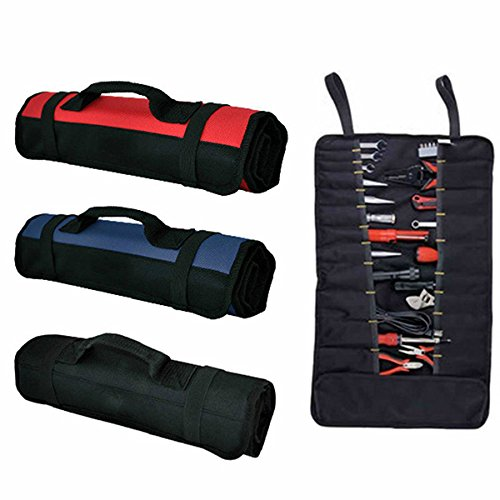 ROSENICE Wrench Roll Multi-Purpose 22-Pocket Reel Rolling Tool Bag(Black)