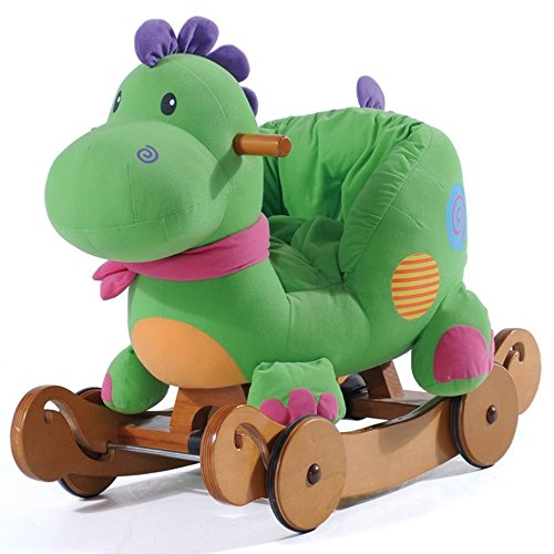 Labebe Baby Wooden Rcoking Dinosaur with Wheels (Green)