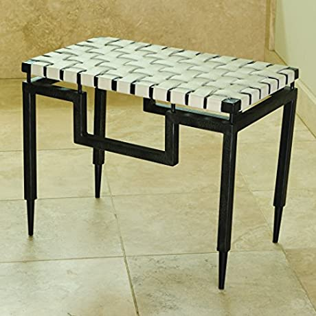 Global Views Iron Leather Bench