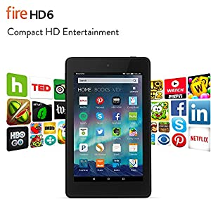 "Fire HD 6 Tablet, 6"" HD Display, Wi-Fi, 8 GB - Includes Special Offers, Black"