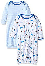 Nautica Baby Boys\' Two Pack Gown Sleeper Set, Blue Bell, 0/3 Months
