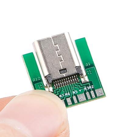 Conector Hembra USB 3.1 Tipo C SMT Tipo Enchufe con Placa de PC DIY 24 Pines por ESden