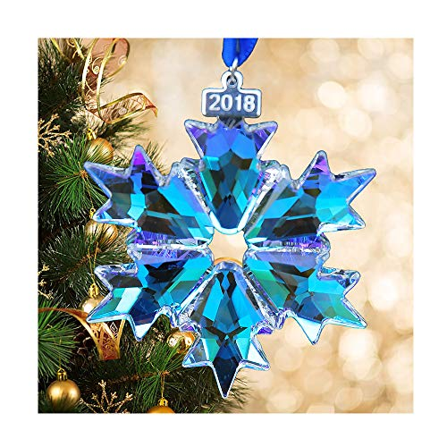 XIANGBAN 2018 Christmas Crystal Snowflake Decoration Car Rearview Mirror Beauty Charm ()