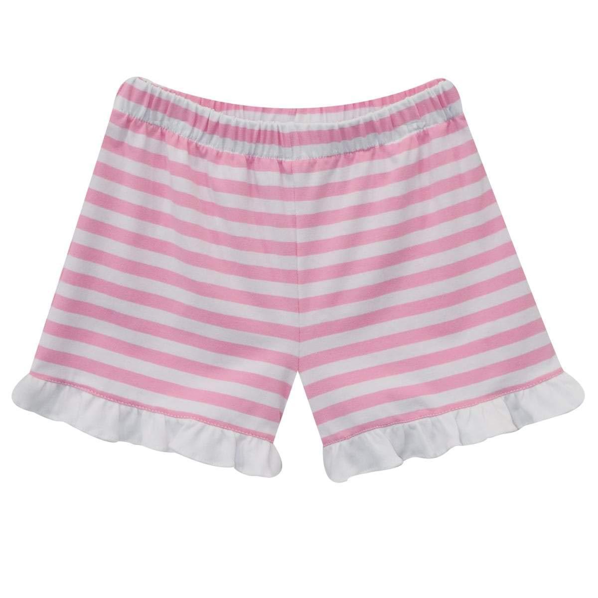 Vive La Fete Pink and White Stripe Knit Girls Short