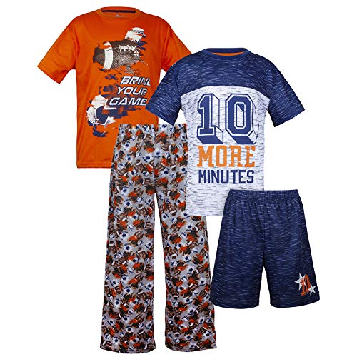 - Sleep On It Boys 4 Piece Summer Pajama Set - Short Sleeve with Pant & Short Sets (2 Full Sets) Orange/Navy