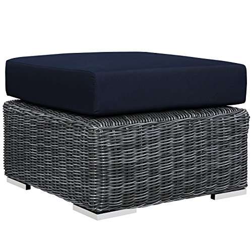 Modway Summon Outdoor Patio Ottoman With Sunbrella Brand Navy Canvas Cushions by Modway