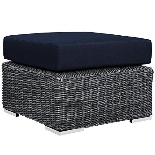 - Modway Summon Outdoor Patio Ottoman With Sunbrella Brand Navy Canvas Cushions