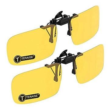 TERAISE 2-Pack Clip de visión nocturna con gafas de sol polarizadas Hombres/Mujeres UV400 Ajuste cómodo y seguro sobre anteojos recetados Ideal para ...