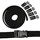 Bennyue Black Nylon Heavy Webbing Strap 25mm(1 Inch) Wide 4m Long +5PCS Black Plastic Flat Side Quick Release Adjustable Buckles