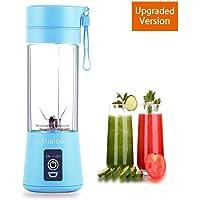 3D Juicer Cup Exprimidor con vaso portátil de 6 cuchillas, versión actualizada recargable, para licuadora extractora, fijación magnética, apagador seguro, batidora de frutas eléctrica para excelente mezcla, 380 ml (azul)