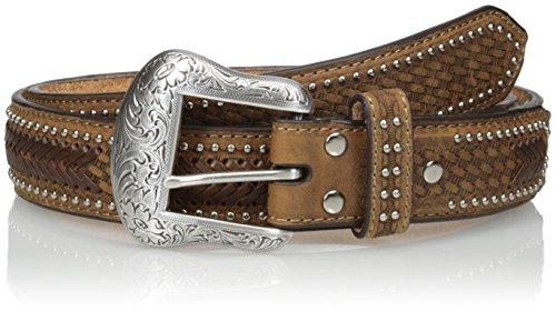 Overlay Buckle - Nocona Belt Co. Men's Brown Ostrich Stitch Overlay, Medium, 34