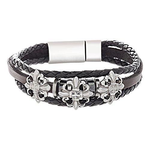 WILLOWBIRD Stainless Steel 8 Inch Black and Brown Leather Braided Fleur De Lis Cross Bracelet for Men