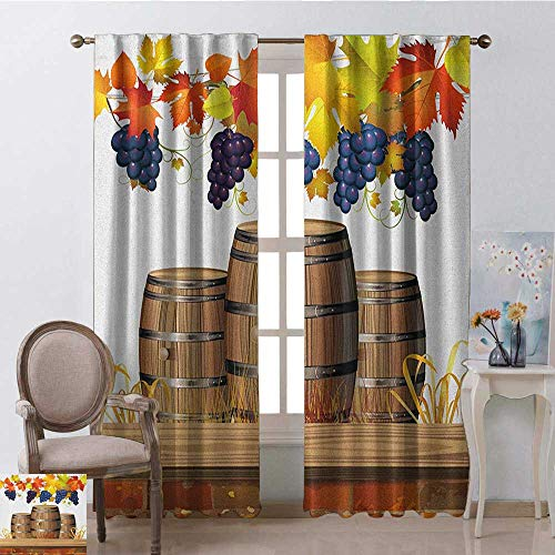 Price comparison product image youpinnong Vineyard,  Curtains with Valance,  Wooden Wine Barrels with Faded Golden Colored Autumn Leaves Fall Sunlight Design,  Curtains in Living Room,  W84 x L84 Inch,  Orange Brown