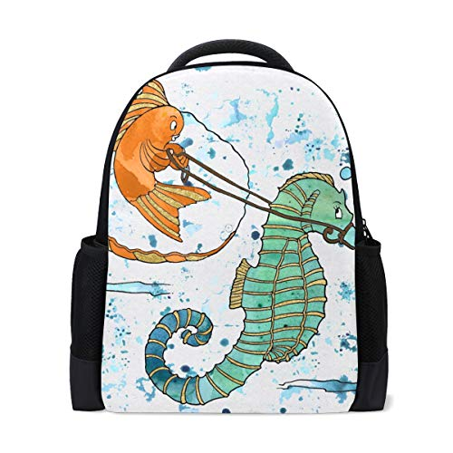 FANTAZIO Backpack Charms Funny Seahorse Goldfish Watercolor Painting School Bag ()