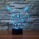 Pokemon Go Eevee 3D Night Light 7 Color Change LED Desk Lamp Touch Button Room Decor