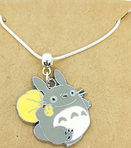 Silver Plated Enamel Totoro Charm Pendant Snake Chain Necklace Ghibli Anime Character Comic *Expedited Available