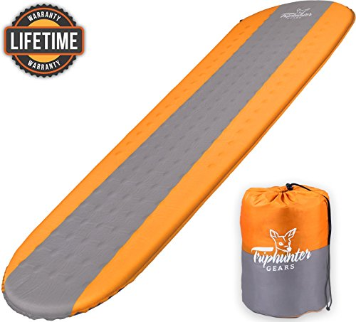 Self Inflating Sleeping Pad Lightweight - Compact Foam Padding Waterproof Inflatable Mat - Best for Camping Hiking Backpacking - Thick 1.5 Inch for Comfortable Sleep - Insulated Camping Mattress by TRIPHUNTER GEARS