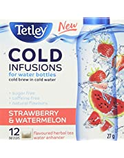Tetley Cold Infusions Strawberry and Watermelon  Herbal Cold Water Infuser  Delicious, Natural, Sugar Free and Caffeine Free  Cold Brew in Cold Water   Great for Water Bottles   12 Infusers per Box
