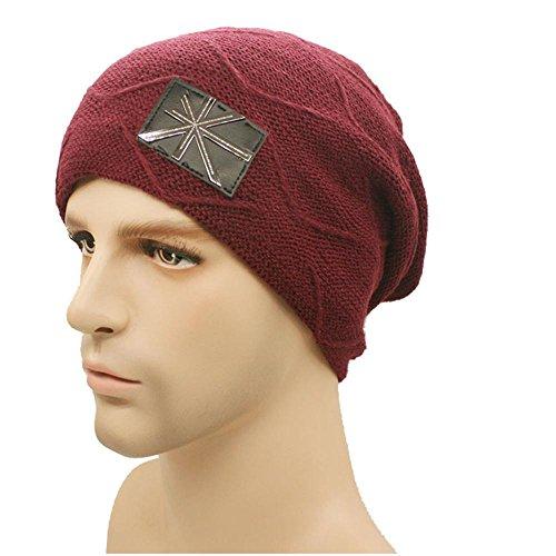 forrado punto al Hat grueso suave libre red Lattice de Beanie aire Daily Warm esquí Mens rojo Hat Invierno pq5wg