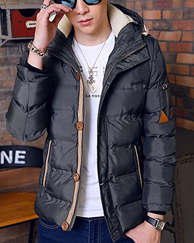 Padded Puffer Army Green Jacket Mens Hooded Warm Colour Quilted Slim Solid Coat Parkas qpOnCxwU