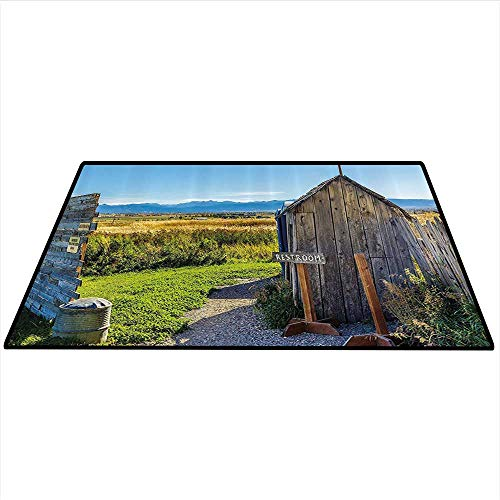 (Outhouse Area Rug Carpet Old Rustic Wooden Cottage Barn Shed in a Farm Village Image Art Door mat 3'x5' (W90cmxL150cm) Dark Grey Green and Sky Blue)