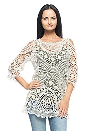 Women's Sheer Ivory Cream Crochet Boho Hippie 60s 70s Pullover Top Blouse Tunic (S/M)