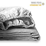 King Linens 100% Linen Solid Color Simple Fitted Sheet Twin Full Queen King