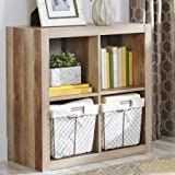 Better Homes and Gardens Square 4-Cube Organizer | Creates Multiple Storage Solutions (Weathered)