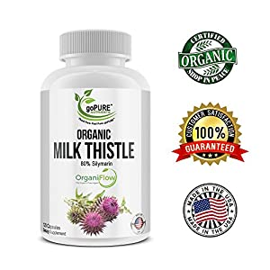 Max Potency Milk Thistle Organic Capsules – 1875mg Whole Food Equivalent Organic Milk Thistle Seed Extract - Antioxidant Properties Supports Immunity, Organ & Liver Health – 120 Vegan Capsules