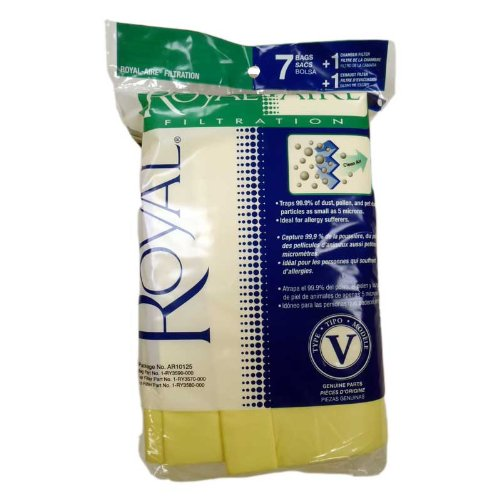 Royal Bag - Royal AR10125 Type V SR30015 Canister Vacuum Cleaner Bags 7pk + 1 Filter, Genuine Royal-Aire Bags, Part AR10125