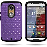 Moto X case, By CoverON Studded Rhinestone Dual Layer Hybrid Bling Case Skin Cover for Motorola Moto X XT1097 (2nd Generation, 2014) Purple Hard Black Silicone
