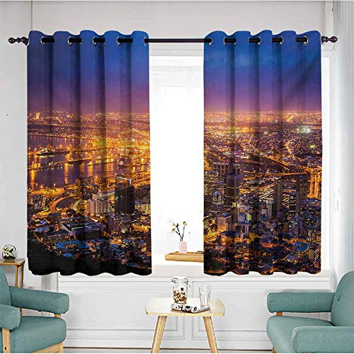 AndyTours Home Curtains,City Cape Town Panorama at Dawn South Africa Coastline Roads Architecture Twilight,for Bedroom Grommet Drapes,W63x72L,Marigold Blue Pink -