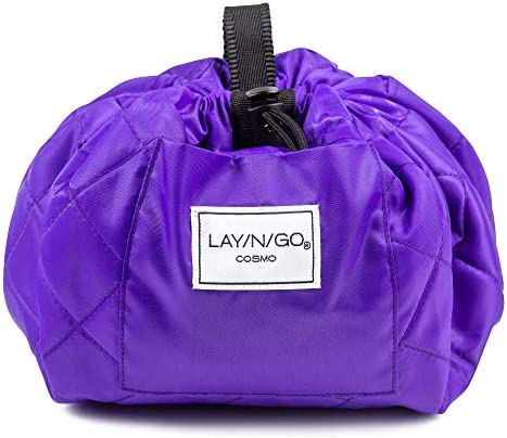 Lay-n-Go Drawstring Makeup Bag – Purple, 20 inch - Travel Cosmetic Bag and Jewelry, Electronics, Toiletry Bag – Perfect Holiday Gift