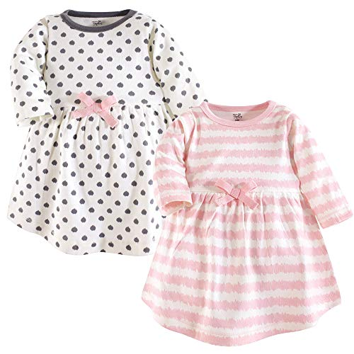 Touched by Nature Baby Girls Organic Cotton Dress, Pink Scribble Long Sleeve 2-Pack, 0-3 Months (3M) ()
