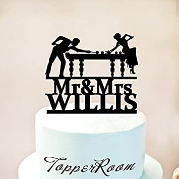 Billiards Custom Wedding Cake Topper With Name Mrs Mr Acrylic Cake