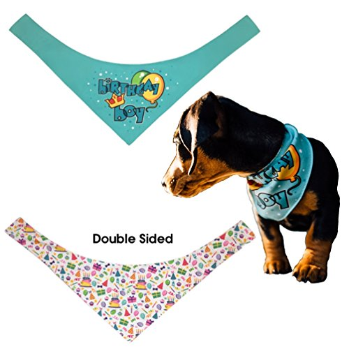 Happy Birthday Bandana for Pet Dog, Cat, Rabbit, Small Animal (Boy / Small)