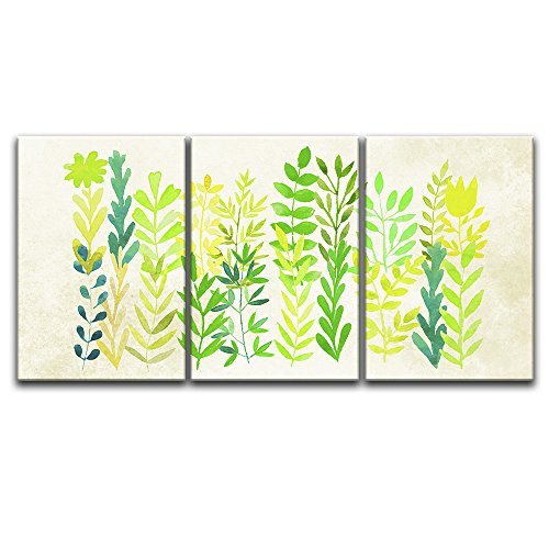3 Panel Watercolor Style Green Leaves Gallery x 3 Panels